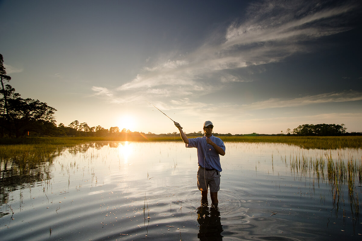 fly fishing at sunrise
