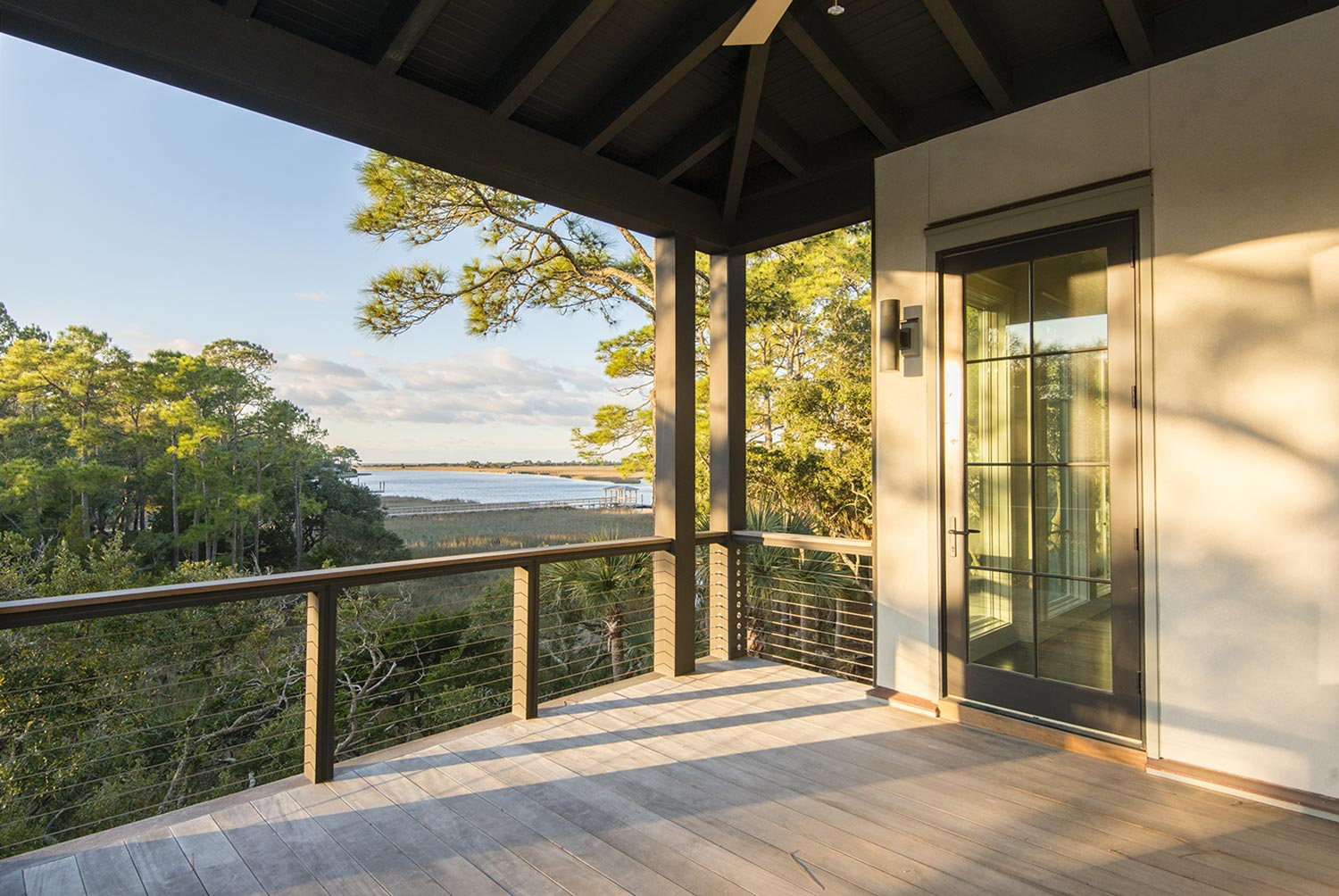 Riverside view from a covered deck at The Pointe on Kiawah Island