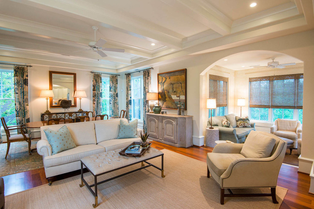 The Main Floors Coastal Inspired Living Room And Formal Dining Are Open To Each
