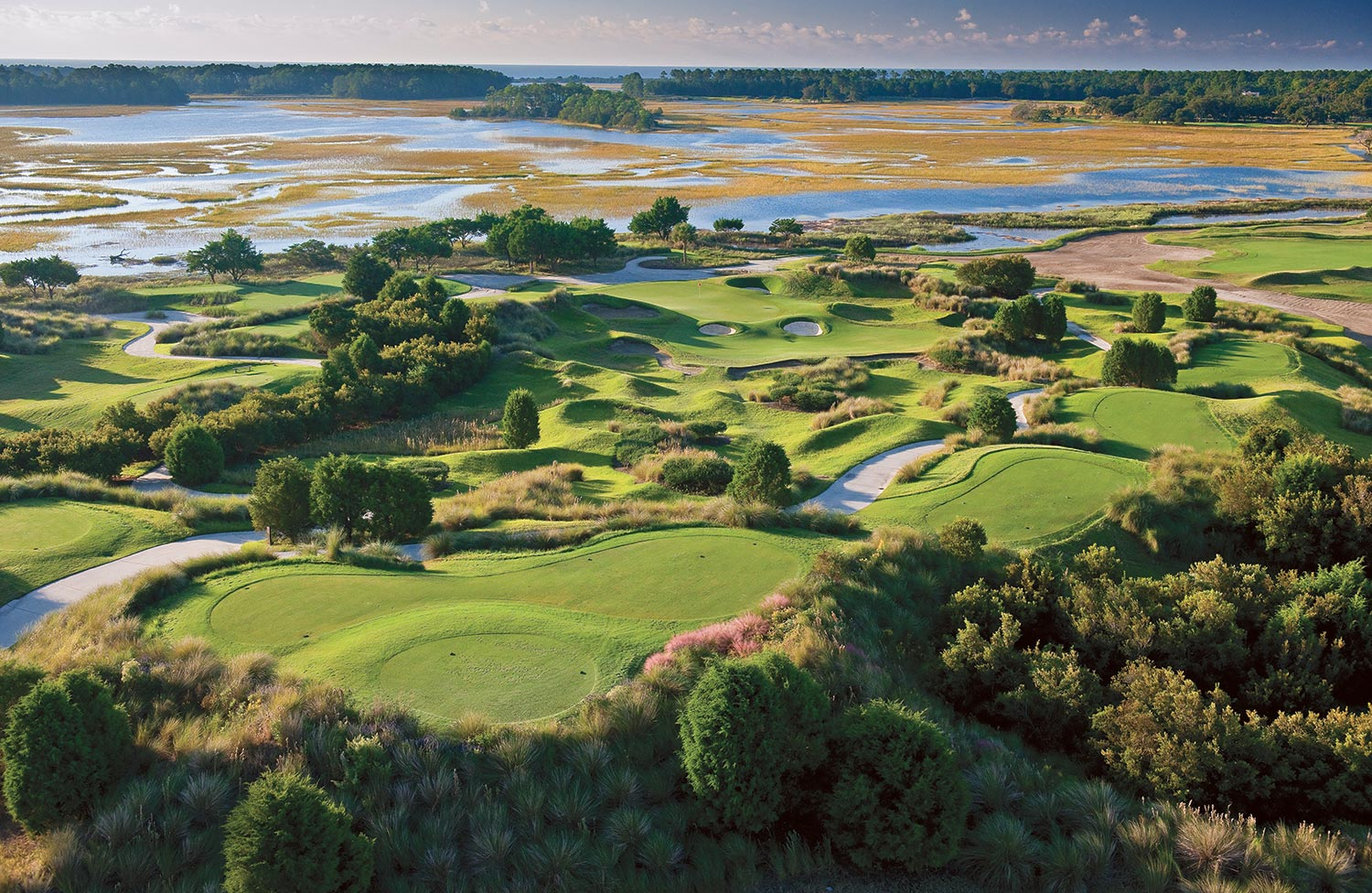 Aerial view of the Cassique golf course on Kiawah Island, SC