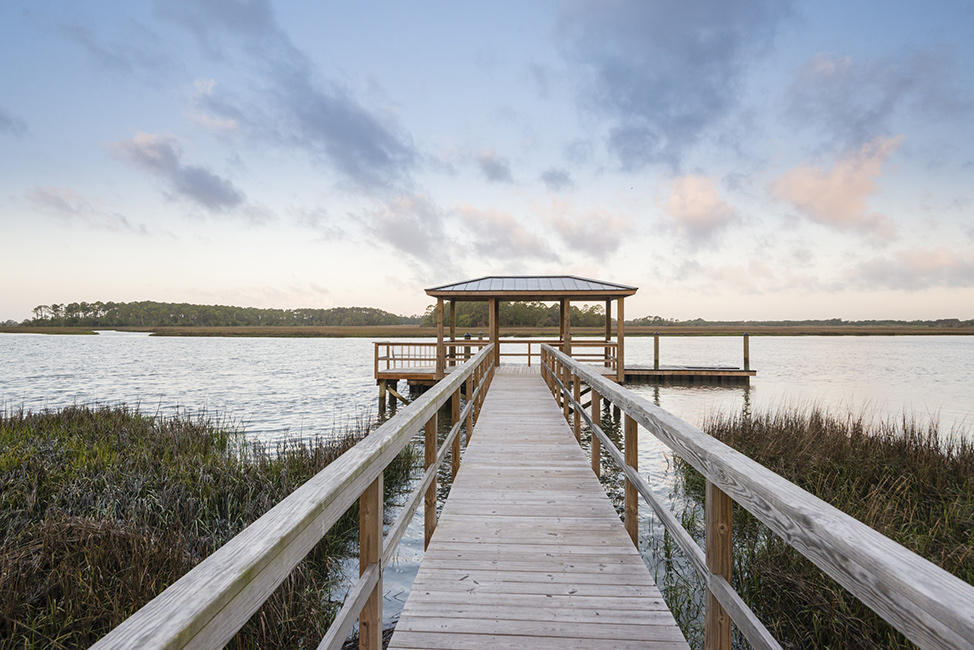 The RiverView neighborhood dock on the Kiawah River