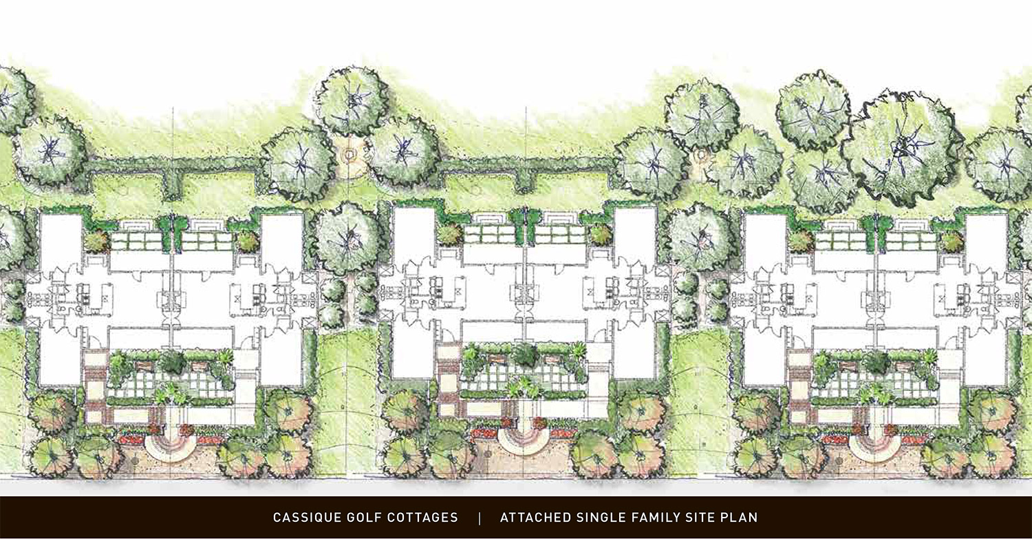 Aerial rendering of Cassique Golf Cottages floor plans and landscaping