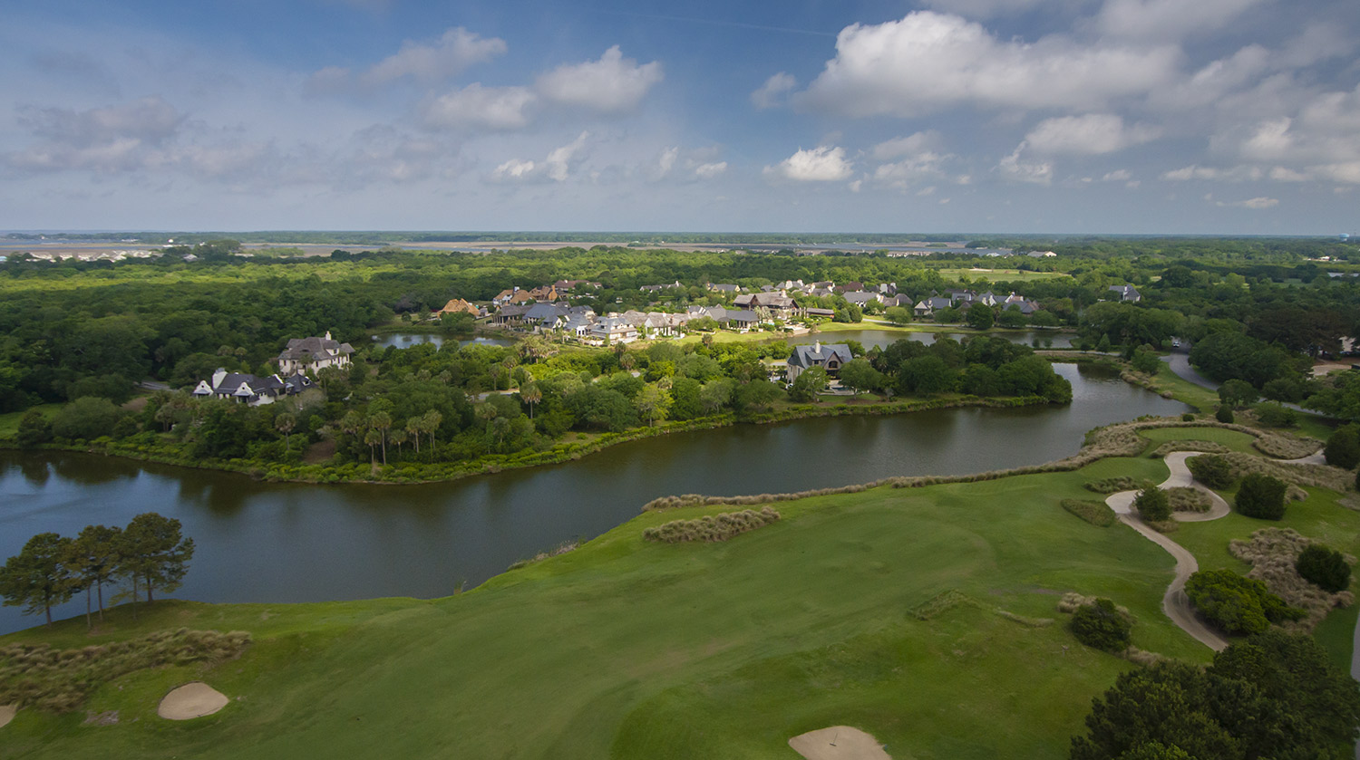 Aerial image of Cassique Garden Cottages and Sports Pavilion on Kiawah Island, SC