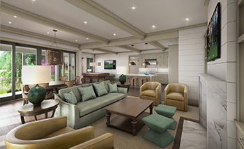 Cassique Golf Cottages great room rendering on Kiawah Island SC