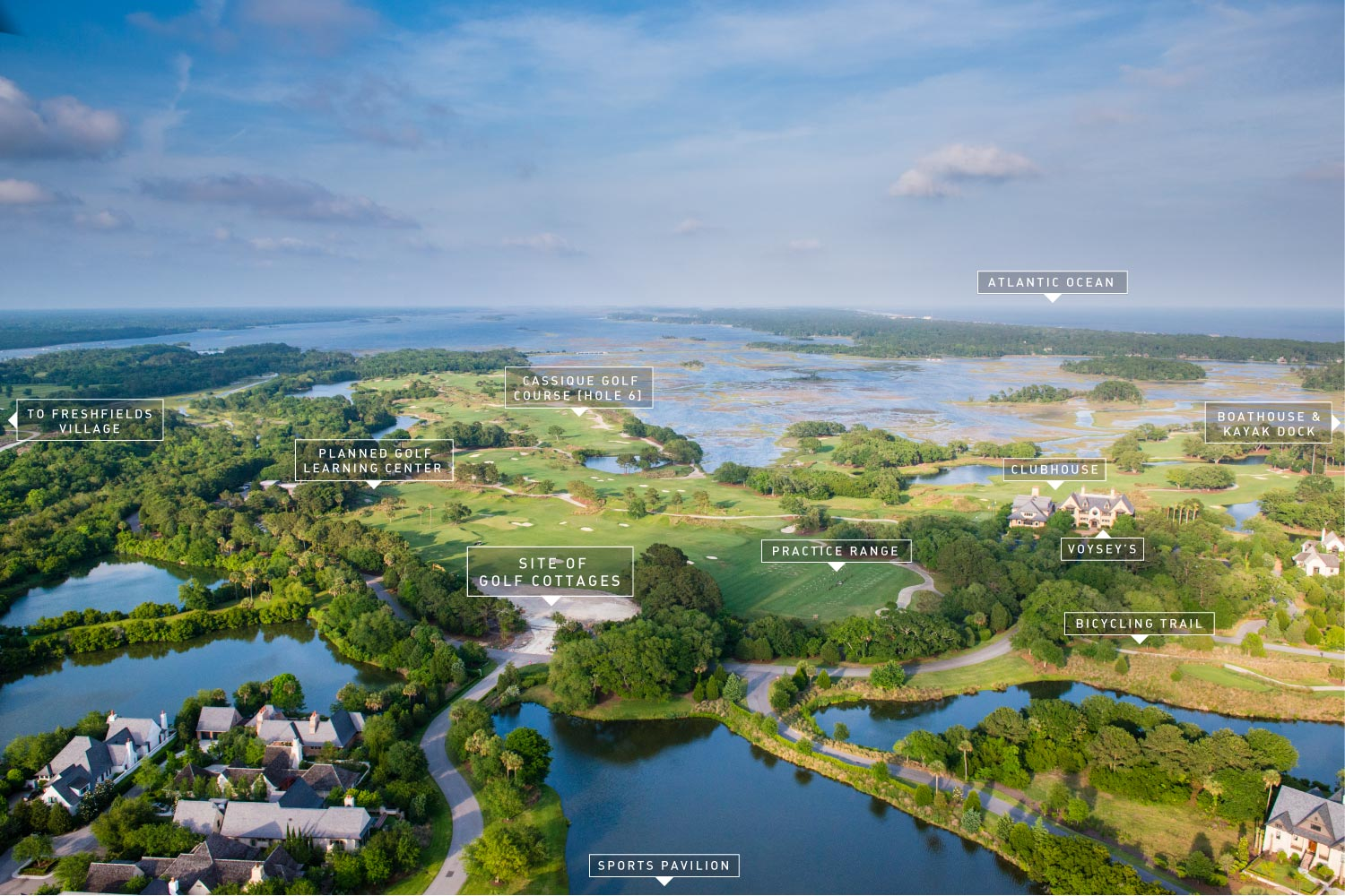 Aerial view of Cassique's amenities on Kiawah Island, SC