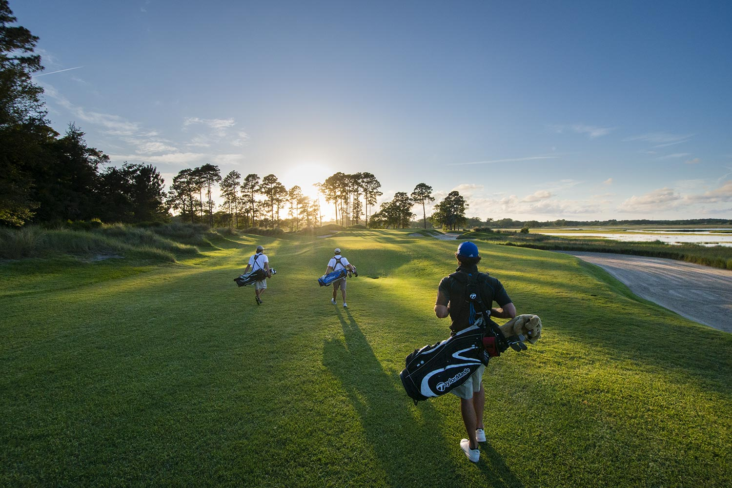 Golfing on the Cassique course at sunset