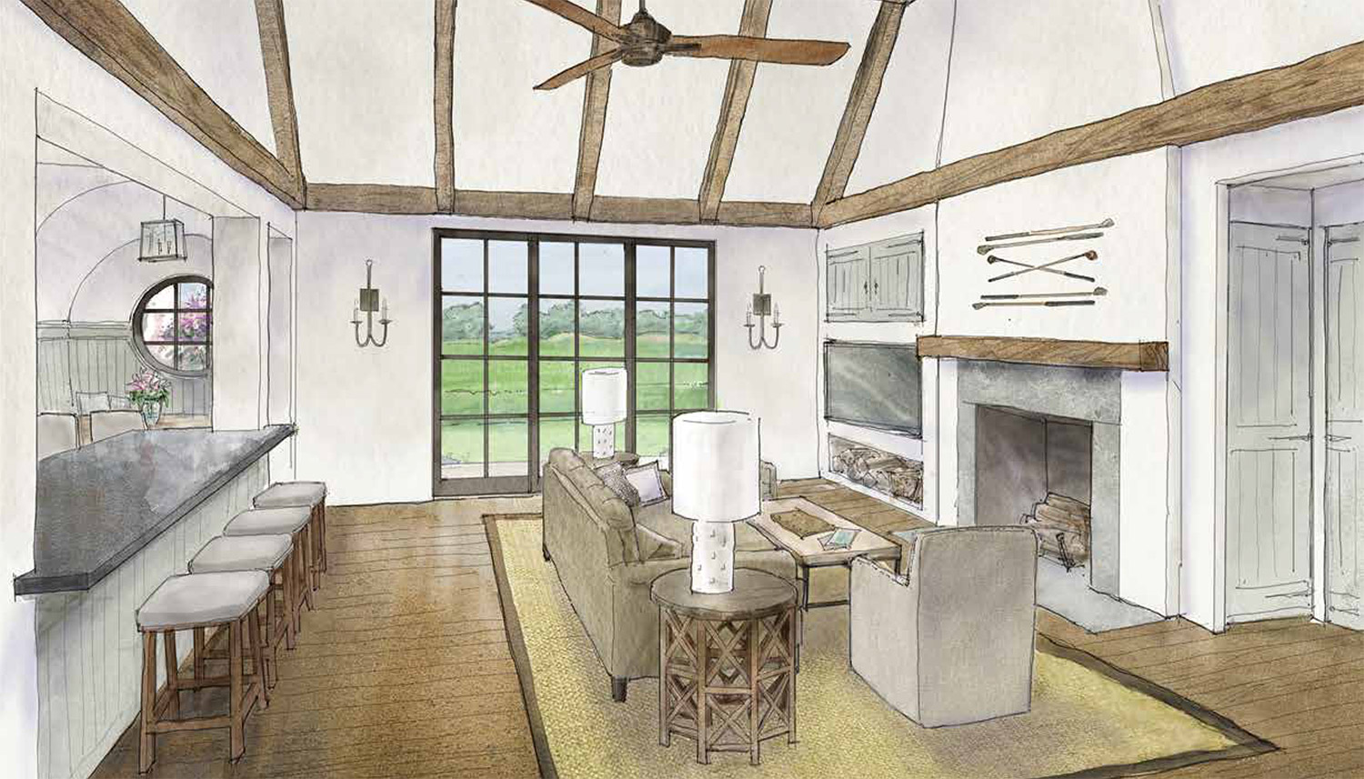 Cassique Golf Cottages - interior rendering of great room