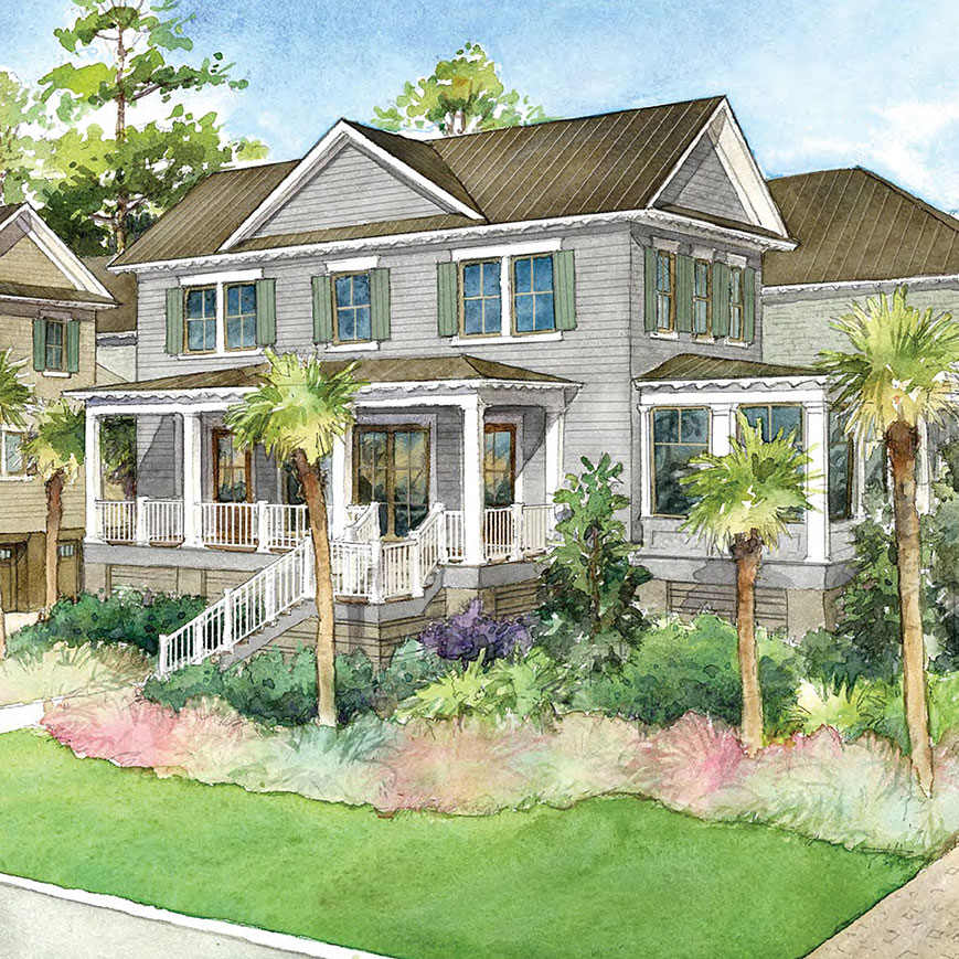 Rendering of a new-construction Magnolia townhome at RiverView on Kiawah Island