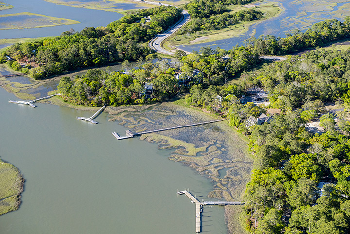 Aerial view of RiverView and The Pointe on the Kiawah River