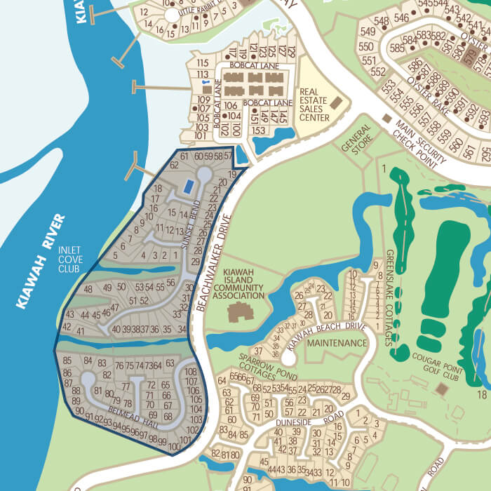 Map Of Inlet Cove Kiawah Island