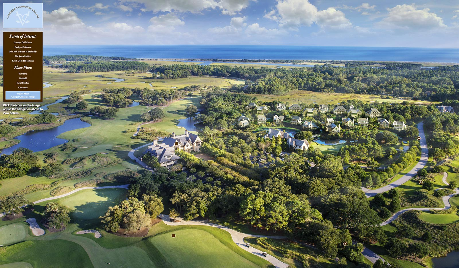 Aerial image of Kiawah Island's Cassique Clubhouse Village