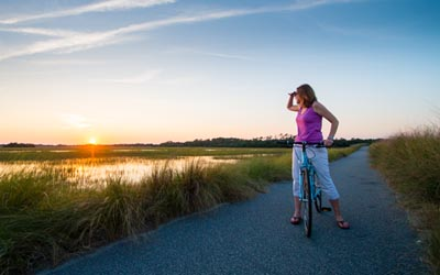 woman looking into the horizon on Kiawah Island